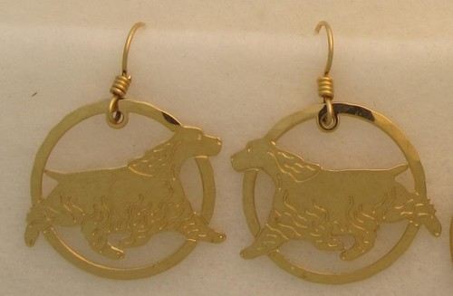 English Cocker Spaniel Gold Plated Wire Earrings-0