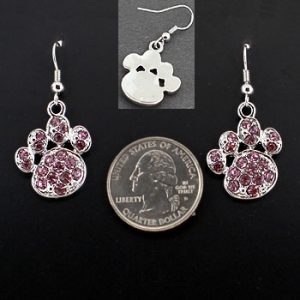 Amethyst Rhinestone Pawprint Earrings-0