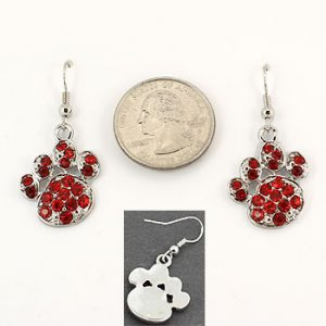 Red Rhinestone Pawprint Earrings-0