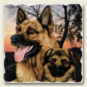 German Shepherd - Tumbled Stone Magnet-0
