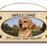 Golden Retriever- Welcome Hanging Sign-0