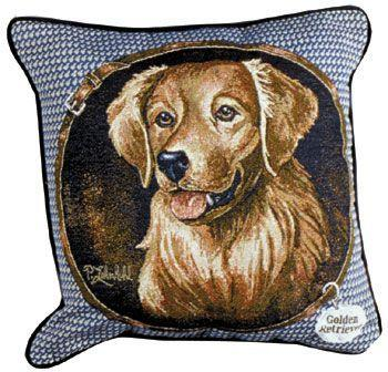 Golden Retriever  – Tapestry filled cushion-0
