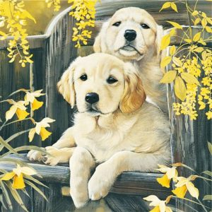 "Golden Retriever ""Garden Pups"" Jigsaw puzzle-0"