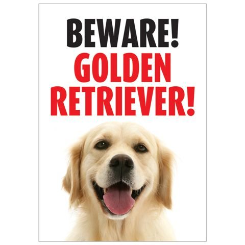 Beware Golden Retriever Gate/ Door Sign -0