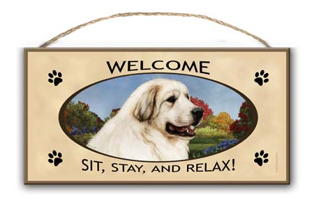 Great Pyrenees – Welcome Hanging Sign-0