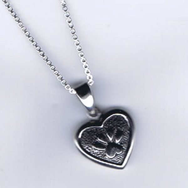 Sterling Silver Heart n Paws Pendant + Chain-0