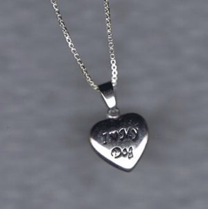 "Sterling Silver 'I Love My Dog"" heart pendant + Chain-0"