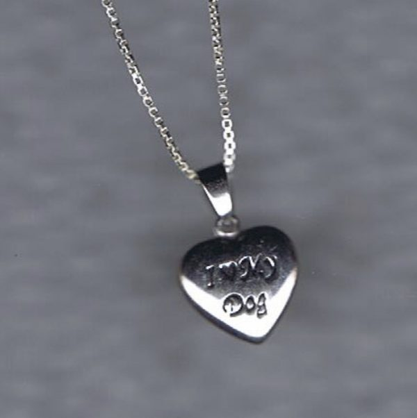 """Sterling Silver 'I Love My Dog"""" heart pendant + Chain-0"""