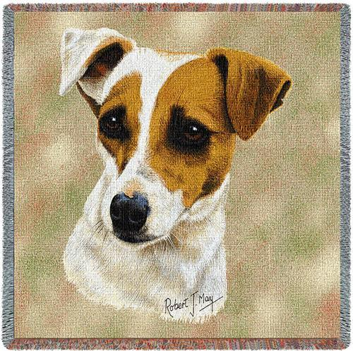 Jack Russell Square Tapestry Throw-0