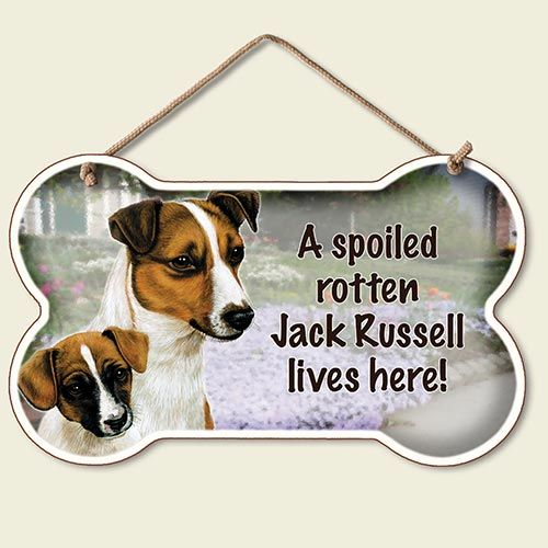 A Spoiled Rotten Jack Russell Lives Here – Hanging Sign-0