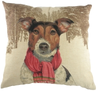 Jack Russell with Scarf Tapestry Cushion Cover-0