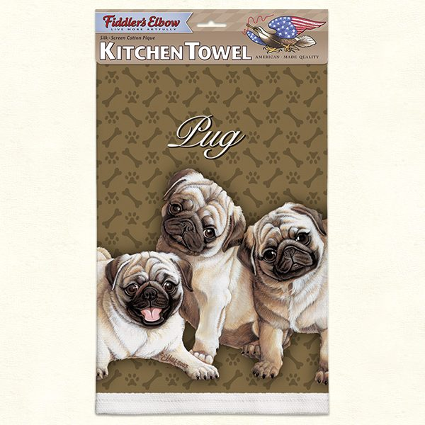Pug Puppies- 100% Cotton Kitchen Towel-0