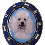 Poodle, White Spinning Keychain-0