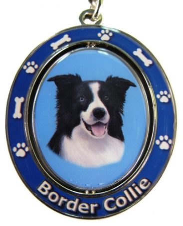 Border Collie Spinning Keychain-0
