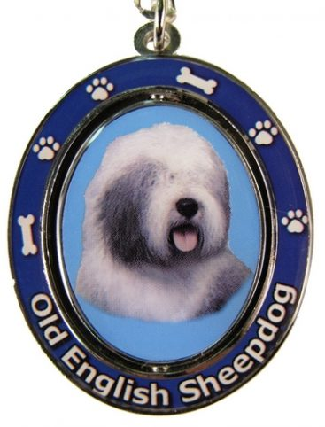 Old English Sheepdog Spinning Keychain-0