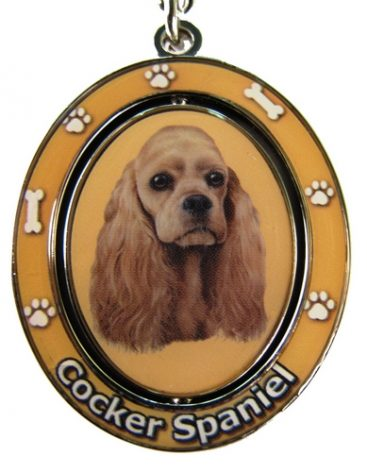 Cocker Spaniel Tan Spinning Keychain-0