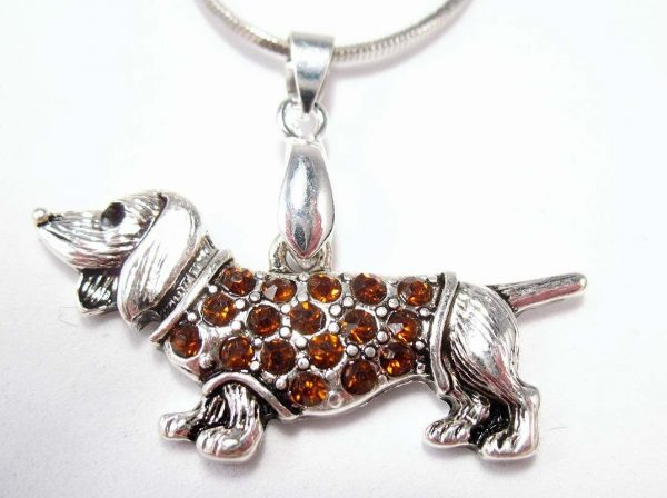 Dachshund Pendant with Topaz accent and chain-6677