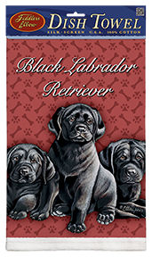 Black Labrador Puppies - 100% Cotton Kitchen Towel-0