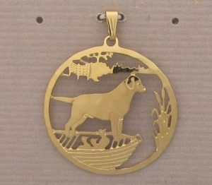 Labrador in the Boat Gold Plated Pendant-0