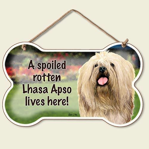 A Spoiled Rotten Lhasa Apso Lives Here – Hanging Sign-0