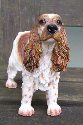 Cocker Spaniel Tan & White Dog Figurine -0
