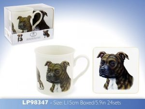 Staffordshire Bull Terrier - Fine China Mug & Coaster set-0