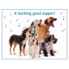"""Mixed Dogs Barking Good Supper"" Giant Pet Placemat-0"