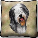 Old English Sheepdog Tapestry Cushion Cover-0