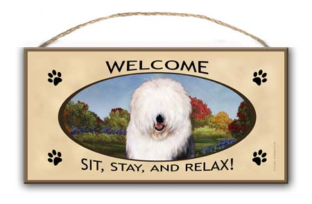 Old English Sheepdog- Welcome Hanging Sign-0