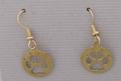 Paw Print Gold Plated Wire Earrings-0