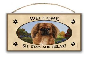 Pekingese- Welcome Hanging Sign-0