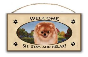 Pomeranian- Welcome Hanging Sign-0