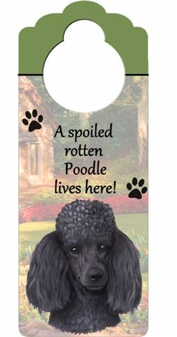 Poodle (Black) Door Knob Sign-0