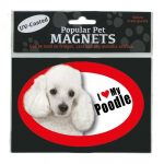 I Love My White Poodle - Oval Magnet-0