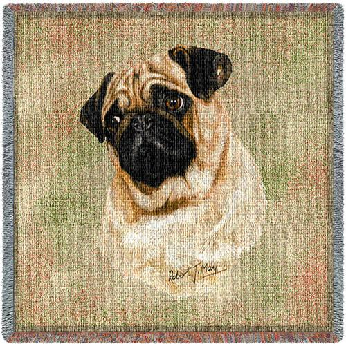 Pug Square Tapestry Throw-0
