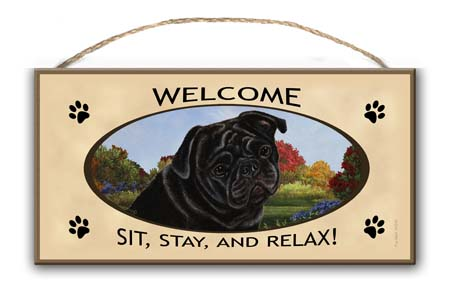 Pug Black- Welcome Hanging Sign-0
