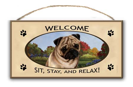 Pug Fawn- Welcome Hanging Sign-0