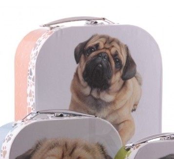 Fawn Pug Laying down Card Case with handle-0
