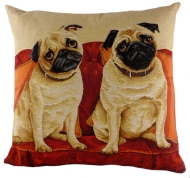 Lounging Pugs Tapestry Cushion Cover-0