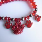 Red Crystal Beaded Paw Charm Bracelet-0