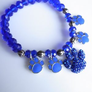 Blue Crystal Beaded Paw Charm Bracelet-0