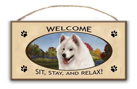 Samoyed- Welcome Hanging Sign-0
