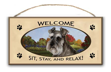 Schnauzer- Welcome Hanging Sign-0