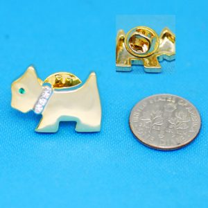 Scottish Terrier Brooch pin or Tie tac with crystal collar-0