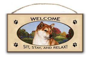 Shiba Inu- Welcome Hanging Sign-0