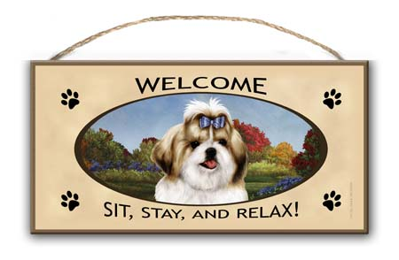 Shih Tzu- Welcome Hanging Sign-0