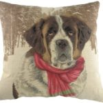 St Bernard with Scarf Tapestry Cushion Cover-0