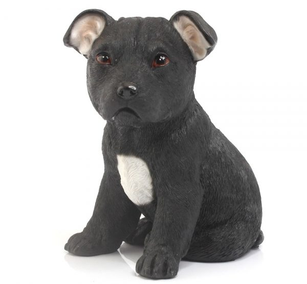 Black Staffie Puppy figurine-0