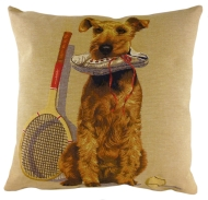 Sporting Airedale Terrier Tapestry Cushion Cover-0