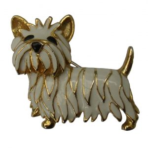 Westie Gold & Enamelled Brooch-0